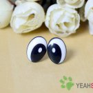 14mmx10mm Black Oval Comic Eyes / Safety Eyes / Printed Eyes - 5 Pairs