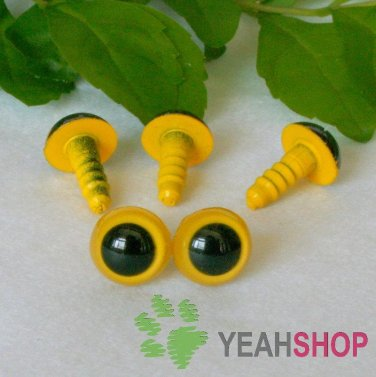 9mm Yellow Safety Eyes / Plastic Eyes / Animal Eyes - 5 Pairs
