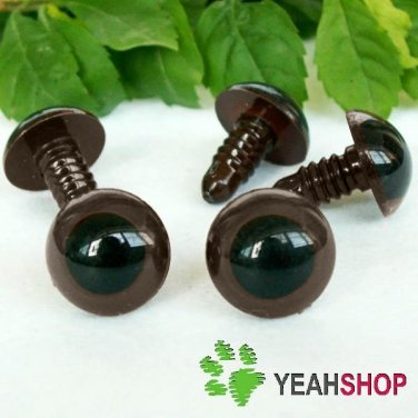 15mm Coffee Safety Eyes / Plastic Eyes / Animal Eyes - 5 Pairs