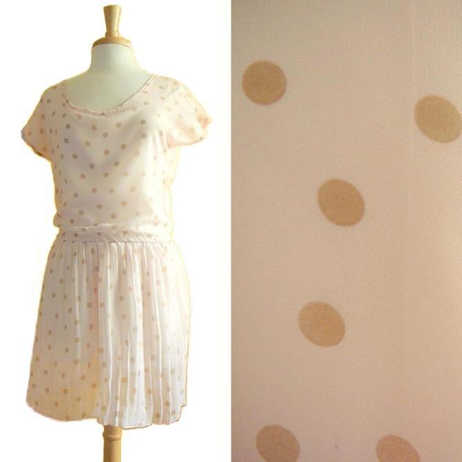 NWOT Pale Pink /w Light Brown Polkadot Print Chiffon Pleated Casual Dress S M