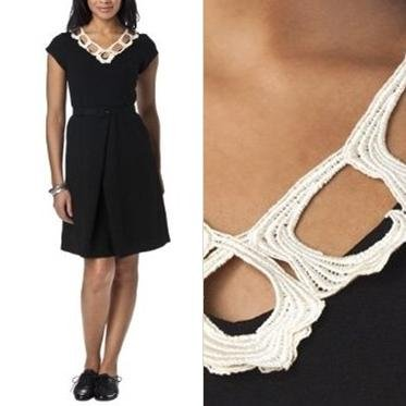 NWT Libertine for Target Black with Cream Cutout Lace Neckline Crepe Dress XS S