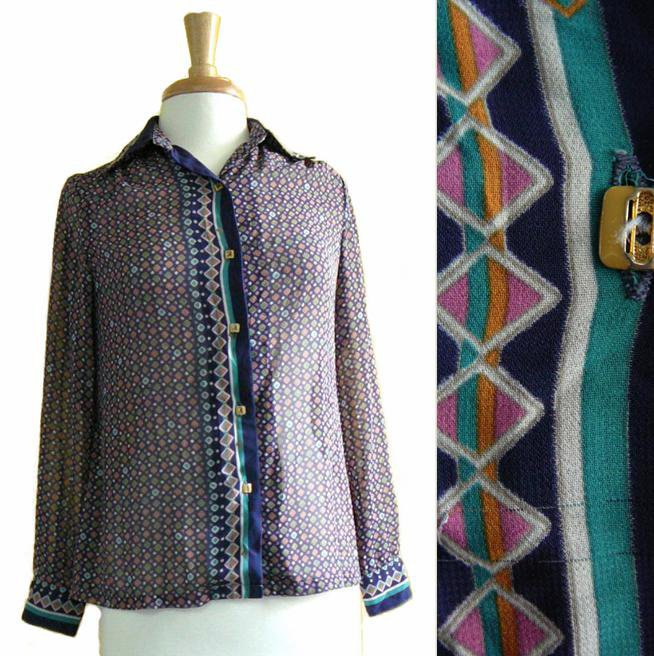 Vintage Vtg 70s 80s Mod Blue Orange Sheer Geometric Print Chiffon Long Sleeved Shirt S M