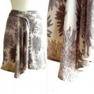 NWT Forever 21 Taupe Purple-Gray Floral Burst Print Floaty Silk Drape Skirt S P