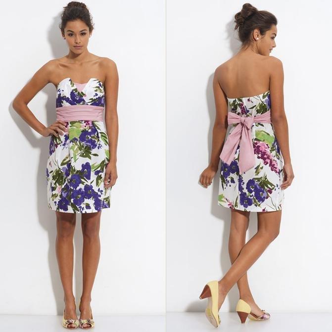 NWT Trixxi White Pink Purple Floral Print Strapless Origami Fold Dress USD58 M L