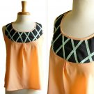 NWOT Peach / Navy Blue / Mint Green Colorblocked Applique Shell Top Blouse XS S