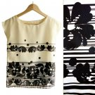NWOT Ivory & Black Oriental Papercut Hawaiian Flower Print Boxy Blouse Top XS S