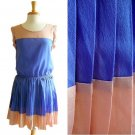NWT Tan Brown & Sky Blue Colorblock Lightweight Pleated Cheerleader Dress S M