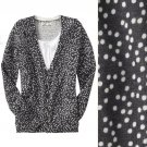 NWT Old Navy Dark Gray White Sprinkled Dots Pattern Cosy Knit Cardigan USD37 S M