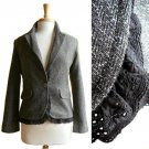 Dark Brown Chevron Weave Tweed Suit Jacket Blazer /w Detachable Black Lace M 8