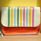 NWT Rainbow Bright Pebbled Faux Leather Mini Satchel / Clutch Bag - White Orange