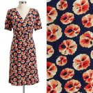 NWT Old Navy Dark Blue Orange Red Floral Cross-Section Print Faux-Wrap Dress S