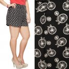 NWT Forever 21+ Black & White Bicycle Print Fluid Lightweight Summer Shorts XL