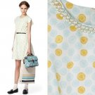 NWT Jason Wu Target Cream Yellow Blue Cycle Print Flutter Dress /w Pearls S 6