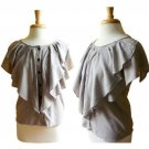 Pretty Dove Gray Flutter Ruffle Bib Button Front Working Girl Blouse Top M 8 10