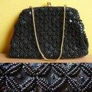Vintage Hong Kong Black Beaded & Sequinned Goldtone Kisslock Evening Purse Bag