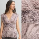 NWT Banana Republic Animal Print Mauve Pink & Gray Pleated Blouse Top USD80 S 4