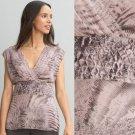 NWT Banana Republic Animal Print Mauve Pink Gray Pleated Blouse Top USD80 S M 6
