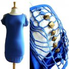NWOT Electric Blue Stretch Tunic Top Dress /w Cutout Lace Stud Net Sleeves S M