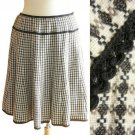 Cream & Dark Brown Woven Boucle Checks Wool Fall Winter Pleated Full Skirt S M
