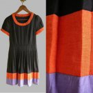 Black Orange Purple Colorblock Scoopneck Puff-Sleeved Pleated Day Dress XXS XS