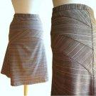 Allure Noir Brown Pink Plaid Tartan Panelled Tailored Bell Flare Work Skirt XS S