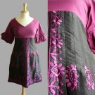 Stunning Plum Purple & Black Embroidered Paisley 3/4 Sleeve Empire Dress S M