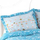 NWT Urban Outfitters Blue Geo Embroidered Triangles Pillow Case Shams 1 Pair $49