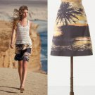 NWT Anthropologie Digital Sunset Beach Photo Print Yellow Skirt USD118 M 8 10