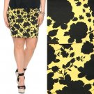 NWT Forever 21 Yellow Black Floral Silhouette Stretch Knit Pencil Skirt XXL