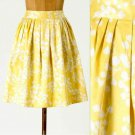 NWT Anthropologie Inked Flora Yellow White Modern Floral Print Skirt USD118 L 12