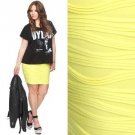 NWT Forever 21 Perky Neon Yellow Pintucked Wave Pleats Stretch Bodycon Skirt L