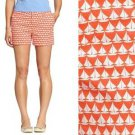 Old Navy Shorts Coral Pink & White Sailboat Print Twill Cute Summer NWT L 14