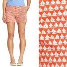 Old Navy Shorts Coral Pink & White Sailboat Print Twill Cute Summer NWT XL 16