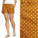 Old Navy Shorts Mustard Brown White Polka Dot Print Twill Cute Summer NWT XL 16