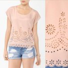 Forever 21 Top Blush Nude Pink Beige Sweet Laser Cutout Scalloped Blouse NWT L
