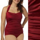 Modcloth Red Swimsuit Esther Williams One Piece Halter Retro Glam $90 NWT XXL 20