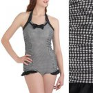 Modcloth Halter Swimsuit One Piece Black White Retro Gingham Pin Up NWT USD90 L