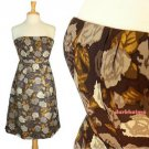 J.Crew Marielle Strapless Dress Dark Gray Brown Taupe Floral Rose NWOT $188 XS 2
