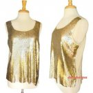 J.Crew Tank Top Shell Gold Ivory White Square Sequinned Silk Back NWT USD118 XL