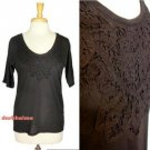 J.Crew Black Tee Handmade Lace Necklace 3/4 Sleeve Classic Knit Top NWT USD45 M