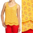Old Navy Top Yellow Country Floral Print Scalloped Tiered Hem Blouse NWT S M