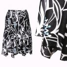 Black White Skirt Botanical Print Blue Bold Floral Panelled Draped Hanky Hem S M