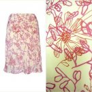 Cream Chiffon Skirt Dark Pink Red Botanical Floral Print A-Line To the Max S M