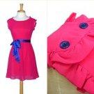Hot Pink Chiffon Dress Cobalt Blue Buttons Satin Sash Frilled Bright NWOT S 4