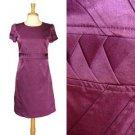 Purple Work Dress Seamed Pleated Triangle Waist Straight Cut Made in Korea S M