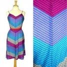 Vintage 70s Knit Dress Blue Purple Pink Gray Teal Chevron Stripes Sundress S M
