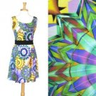 Kaleidoscope Print Dress Yellow Green Blue Black Purple Bold Abstract NWT S M