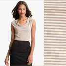 Halogen Cowlneck Top Draped Modal Knit Ivory Taupe Striped USD39 NWT PL PXL