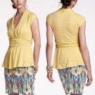 Anthropologie Light Yellow Basketweave Front Soft Slub Knit Peplum Tee Top NWT M