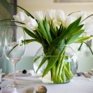 2 Piece Set Glass Fish Bowl with Tulips Centerpiece